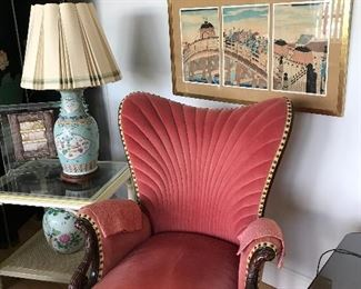 JAPANESE WOOD BLOCK PRINTS, ANTIQUE CHAIR