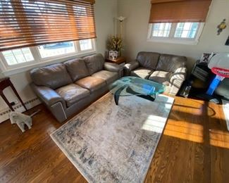 Living Room furniture, leather sofa and leather settee, area rug, Noguchi style coffee table COUCHES ARE 250 FOR BOTH!
