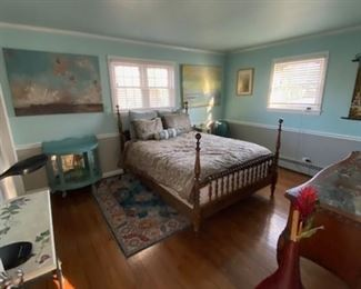 Full Size bed with mattress and box spring, all bedroom furnishings for sale BED 200$ WITH FRAME, RUG 1 YEAR OLD 100$