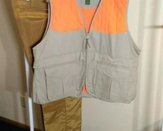 Cabelas blaze orange vest and Blue Bill pants