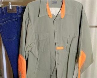 Hunting shirt with blaze orange and hunting pants