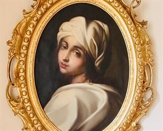 Antique painting Beatrice Cinci after Guido Reni in an elaborate gilt frame