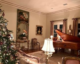 Broadwood and Sons grand piano plays beautifully! French Trumeau mirror, Aubusson rug, Aubusson parlor suite, etc