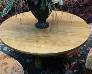 Small round oak coffee table