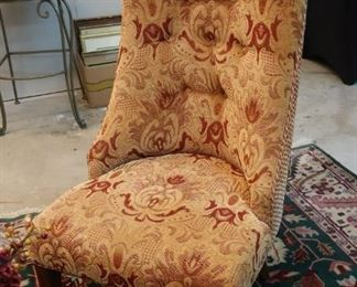 Pair of gold and red upholstered accent chairs; may be used as end chairs with our dining room set