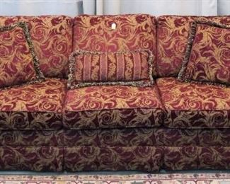Raspberry upholstered Massoud sofa, made in Dallas, TX