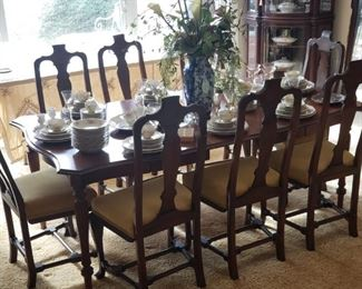 Dining Table, includes 8 chairs and 3 leaves