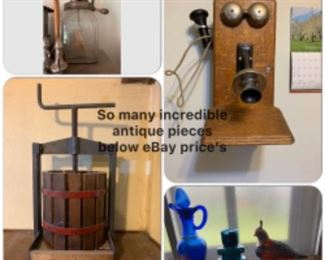 Butter churn, antique phone and churn..