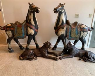 #1(2) Model Horses with saddle, saddle cloth and bridal strap with bone and wood. 59x54x25 $4,000.00  #2pair of Bronze panthers by C. Valton who died 1918 17x43x21  $1,500.00