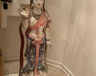 #4Quan Yin Goddess of Mercy Chinese lady statue in carved wood / painted As is finger broke 50tx15wx12d $1,000.00                                                      Make a offer