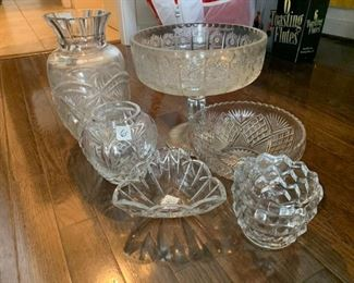 #B-12 cut glass crystal tall vase, pedistal bowl, (2) short vases, triangle bowl, $30.00