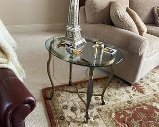 glass and brass end table oval $175.00