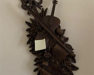 carved vintage wall plaque with violin $350.00
