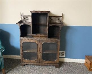 vintage cabinet with decorative hutch $670.00