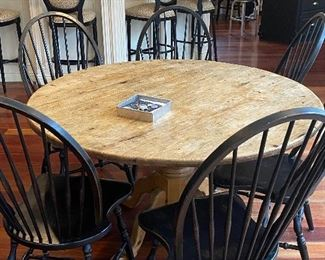 WINDSOR BACK CHAIRS SET OF 6 $850.00 RUSTIC DINING TABLE 550.00