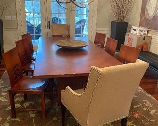 "DESIGNER TWO FABRIC ARM CHAIRS : $795 PAIR                                          DINING ROOM SET FROM DESIGN CENTER :8 CHAIRS 2 ARM 6 WITHOUT BY INTERNA 6200.00 8""BY 4"""