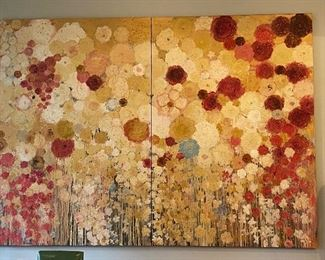 Lenore Gimpert two panel oil wax and lacquare on canvas 11'9 x 8'5  single panel 5'10 x8'5  $15,000 *