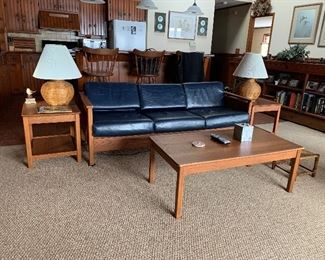 MID CENTURY MODERN SOFA AND CUBE CHAIRS.  OAK TABLES