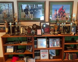 Dozens of Dog Show Trophies, Books, Bookcases, Framed Prints