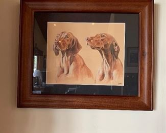 Framed Dog Pencil Etchings