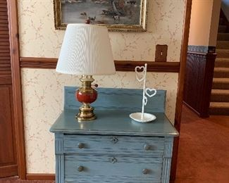 Blue painted 3 drawer washstand