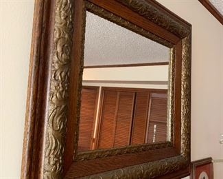 Various mirrors including this vintage oak & gold ornate mirror