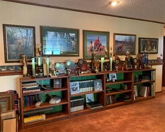 Nice bookcases, use together or separate. TROPHIES & artwork including framed prints, photos and oil on canvas