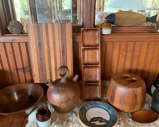 Teak items including this ice bucket and serving pieces