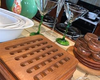 teak trivets and more kitchenware