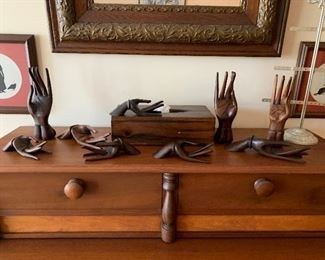Collections of wooden vintage hands