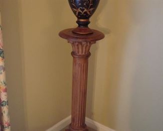 """Living Room:  A wooden pedestal is 34-l/2"""" tall.  You can also spray paint it to complement your decor!  The vase is for sale as well."""