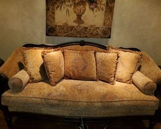 """Soft Gold Velvet Upholstery, Fringed Pillows, Warm wood frame Thomasville sofa - 90""""w x 42""""d - very welcoming and comfy, excellent condition $1200obo. Pretty tapestry in sepia tones hangs above."""