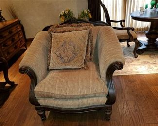 """Velvet Upholstery and Fringed Pillows, Thomasville chair, great detail in the wood frame and feet.                45""""w x 36""""d, cozy.$500 OBO"""