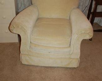 """Cushioned, white chair, 34"""" W x 28"""" D x 31"""" H"""