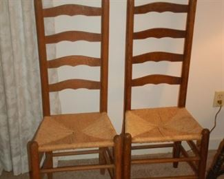 """Vintage cane bottom ladder back chairs (3 all total), 16.5"""" W x 14"""" D x 44"""" H"""