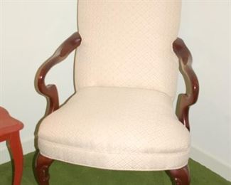 """Pair of straight back cushioned parlor chairs, """" W x 22"""" D x 42"""" H"""