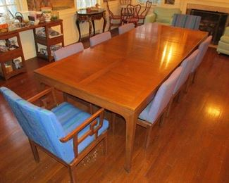 Mid century Michael Taylor for Baker dining table & 8 chairs