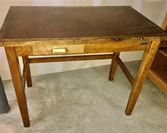 antique Post Office desk with metal tag