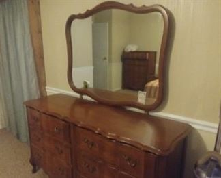 Matching vintage dresser and mirror