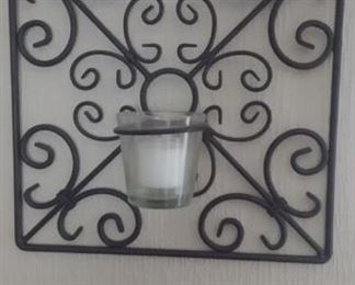Pair of wrought iron candle holder
