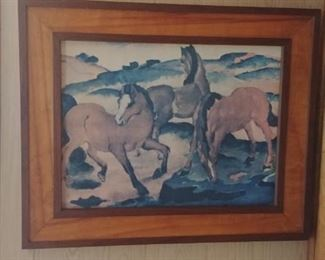 Mid Century wall art of horses and two tone frame.