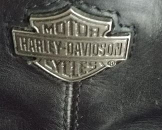 Motorcycle boots with Harley Davidson emblem.
