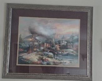 "Large wall art of train with muted colors.  Matted and framed.  40"" wide x 38"" tall."