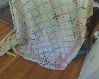"Antique quilt is 72""x 84. Needs repair on trim.  Otherwise in beautiful condition."