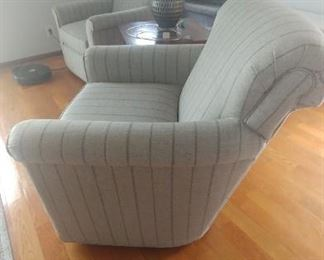 Side view of swivel chair.