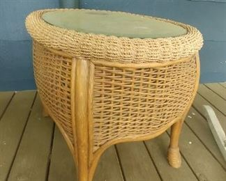 Wicker with glasstop side table for porch or inside.
