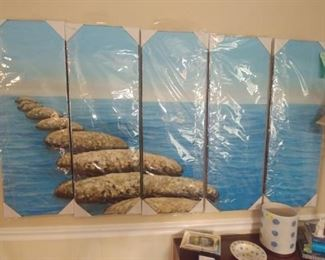 Five panel lake wall art. New in the package.