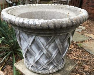 poured concrete lattice pot