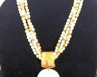 MLC001 Rare 4 Strand Mother of Pearl Dragon Necklace