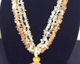 MLC007 Three Strands Citrine Necklace & Natural Wood Carved Pendant